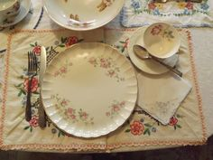 Vintage dishware and hand embroidered linens go hand in hand Vintage Dishware, Linens, China, Plates, Tableware, Classic, Silver, Vintage Dinnerware, Licence Plates