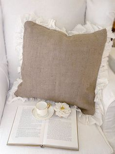 burlap  pillows ......@Shannon Snyder @Danielle Axtell.... Make these please :)