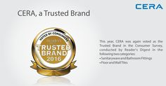This year, the trust doubles. #CERA is a winner yet again of the #TrustedBrand in the consumer survey conducted by #ReadersDigest in two categories. 1.) #Sanitaryware and #BathroomFittings 2.) #FloorTiles & #WallTiles.  Thank You for your Trust! #ReflectsMyStyle