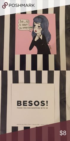 """BESOS! Art Print Small 4 x 4 art print by BESOS! Featuring a cute girl with purple hair and a collared dress. She is blushing and has tears in her eyes but stars on her cheeks. Muttering """"But.. all I want is everything"""". The print shows a signature from the artist as well💕 BESOS! Other"""