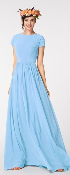 Modest prom dress short sleeves light blue prom dresses long