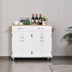 The frame is made of premium PB and MDF, making this cart sturdy and durable enough to last you for a long time. It features two drawers and two cabinets that provide ample storage space for you to organize all your items. The rubberwood top also provides additional counter space to prepare your favorite meals on. It is equipped with 4 rolling casters for easy movement, and 2 of them are lockable to ensure stability and to allow you to stop and anchor the cart wherever you want.