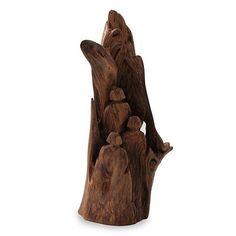 Reclaimed wood sculpture, 'Father, Mother and Child' - Tree Trunk Humans Sculpture in Reclaimed Wood Sculpture