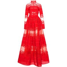 Zuhair Murad Inlaid Lace Mock Neck Gown (€5.435) ❤ liked on Polyvore featuring dresses, gowns, red, lace ball gown, red dress, lace gown, red lace dress and a line gown