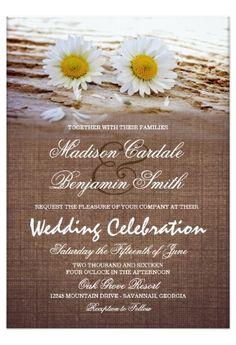 Shop Rustic Daisies Burlap Print Wedding Invitations created by RusticCountryWedding. Wedding Invitations Examples, Wedding Invitations Online, Country Wedding Invitations, Rustic Invitations, Wedding Invitation Sets, Wedding Programs, Invites, Invitation Envelopes, Invitation Templates