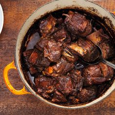 Beef: Red wine-braised short ribs