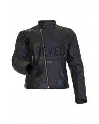 Designer Fashion -Crocker - Black Leather Motorcycle Jacket