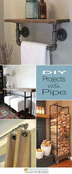 Love industrial or rustic style? Then try these awesome DIY pipe projects! DIY pipe shelves, tabel and even curtain rods. House Design, House, Home Projects, Interior, Diy Furniture, Home, Home Improvement, Diy Home Decor, Home Deco