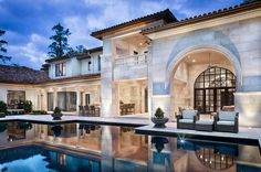 Pool reflection of home. Jauregui Architects, Interiors & Construction: Portfolio of Luxury Custom Homes Texas Mansions, Architecture Design, Architecture Interiors, Mansion Designs, House Goals, My Dream Home, Dream Homes, Custom Homes, Exterior Design