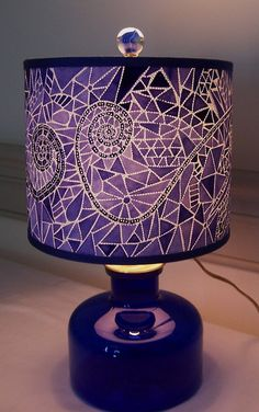 Cobalt OOAK Mosaic Pierced Paper Lampshade on by jennybeeshades