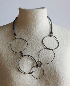 Irregular Circles Necklace - 2 - Oxidized Copper and Silver and Leather