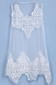 White Sleeveless Hollow Embroidery Sheer Blouse pictures