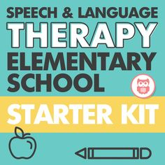 Elementary school materials for speech and language therapy including packets for articulation, language, and social skills. Target everything from describing to WH questions to fluency to social skills with this bundle. From Speechy Musings.