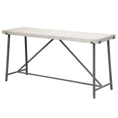 The Hector Console Table has a hand hammered iron base and a solid limestone top. Because natural limestone is used this product is unique and considered one of a kind, and the limestone tops may or may not be very distressed.