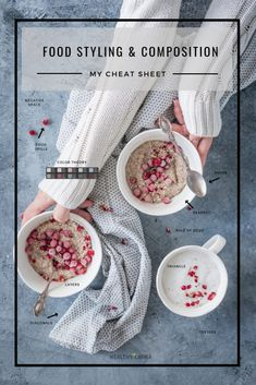 Learn Food Styling & Composition_ My FREE Cheat Sheets _ Healthy Laura _ Food Photography & Styling Food Styling, Styling Tips, Fotografie Hacks, Food Photography Styling, Photography Hacks, Fashion Photography, Photography Composition, Cake Photography, Photography Backdrops