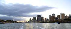 Dusk on the Brisbane River Brisbane River, Dusk, New York Skyline, Travel, Viajes, Destinations, Traveling, Trips