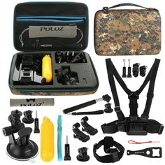 [$12.01] PULUZ 20 in 1 Accessories Combo Kit with Camouflage EVA Case (Chest Strap + Head Strap + Suction Cup Mount + 3-Way Pivot Arm + J-Hook Buckles + Extendable Monopod + Tripod Adapter + Bobber Hand Grip + Storage Bag + Wrench) for GoPro HERO4 Session /4 /3+ /3 /2 /1