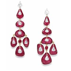 Stunning earrings by @glennspiro set with Mozambican Rubies, Diamonds in pink gold. #rubytuesday #Mozambicanrubies #beautiful #rubies