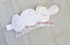 white baby headband, baptism headband, christening headband, flower girl hair accessories, pink on Etsy, $22.50