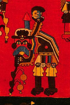 "Detail of a Paracas Necropolis ""manto"", c. 500 BC.  Museo Nacional de Arqueologia, Antropologia e Historia del Peru.  Photo: Mylene d'Auriol Stoessel."
