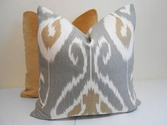 [CasaGiardino]  ♛  Kravet Ikat Pillow Cover Gray Taupe Ivory by ZourraDesigns