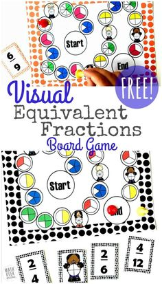 Need extra practice with fractions? This equivalent fractions game printable is the perfect way to challenge kids to find an equivalent fraction and match it to the visual model! By exploring multiple representations, kids will deepen their understanding Easy Math Games, Math Board Games, Fraction Activities, Educational Activities For Kids, Math Resources, Math Activities, Fraction Games For Kids, Free Games, Fractions Équivalentes