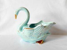 vintage swan planter blue aqua 1950s American Bisque Co.