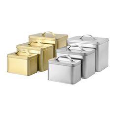 IKEA - HEMSMAK, Bote con tapa juego 3, Adecuado para guardar café, té y otros productos similares.Puedes guardar los botes pequeños dentro de los grandes para ahorrar espacio.