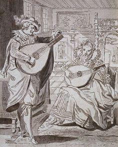 Karel van Mander - Lady and Gentlemen Playing Lutes, Lithography, century Lady And Gentlemen, Musical Instruments, Printmaking, 19th Century, Van, Paintings, Artist, Baroque, Lute