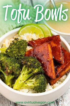 These vegan tofu bowls from A Virtual Vegan are full of fluffy coconut lime rice, triangles of sticky, caramelized baked tofu, and toasty around the edges roasted broccoli all brought together with a hefty drizzle of peanut sauce! This recipe is quick and easy for a delicious lunch or dinner that's packed with flavor. #vegan #tofu #tofubowl #dinner #recipe #rice #lunch