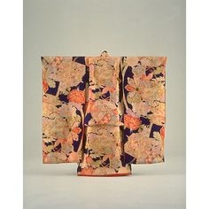 Girls Furisode (Long-Sleeved Kimono) with Small Mallets, Butterflies, Flowers, and Flowering Plants on Dark Blue Ground, Taisho Period, 20th c, Kyoto National Museum