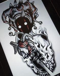 darkhead tattoo design blackwork monster creature creepy dotwork agatha schnips jester joker fool horns