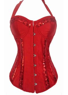 7bf997df2a Sequins Decoration Red Satin Halter Bustier
