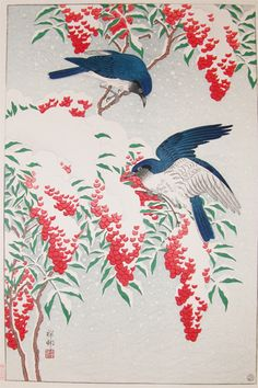 Birds in the snow by Shoson, 1929