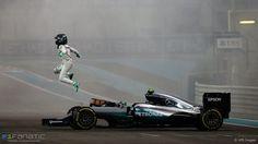 World champion Nico Rosberg, Mercedes AMG Hybrid. Photo by XPB Images on November 2016 at Abu Dhabi GP. Nico Rosberg, Mercedes Amg, Verona, Mick Schumacher, Abu Dhabi Grand Prix, Funny Photoshop Pictures, Auto Motor Sport, Formula 1 Car, Daimler Benz