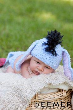 Eeyore inspired Gloomy Donkey Crochet Baby Hat and Diaper Cover Costume or Photo Prop, via Etsy. I just need a baby to put it on, LOL! Crochet Bebe, Crochet Baby Hats, Crochet For Kids, Crochet Bunny, Cute Kids, Cute Babies, Baby Kids, Eeyore, Winnie