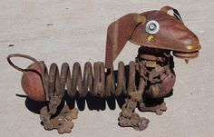 Buster, life sized dachshund made from found objects. by Wilhelm's Art