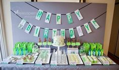 mad science boy's birthday party dessert table