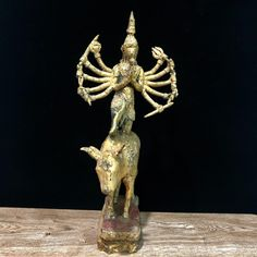 """Excited to share this item from my #etsy shop: 16.5"""" Bodhisattva Buddha Statue On Sacred Cow Bronze Gold Unusual Buddhism Art"""