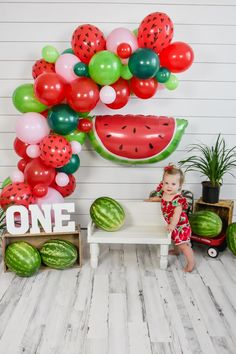 2nd Birthday Party For Girl, First Birthday Themes, First Birthday Decorations, Kids Birthday Party Invitations, First Birthdays, Birthday Ideas, Watermelon Birthday Parties, Fruit Birthday, Watermelon Party Decorations