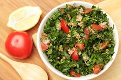 Traditional Lebanese tabouli (or tabbouleh) has little bulgar included. Bulgar, for those that don't know, are the groats (hulled grains) of various wheat species – most often durum.  Unlike some tabouli recipes that feature the grains or make use of other grains like quinoa or farro, this
