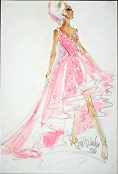 Bob Mackie costume sketch for Mitzi Gaynor from igavelauctions.com Fashion Drawings, Fashion Sketches, Fashion Art, Fashion Show, Vintage Fashion, Fashion Design, Theatre Costumes, Ballet Costumes, Beautiful Costumes