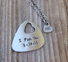 Guitar pick hand stamped jewlery his and her gift by CMKreations