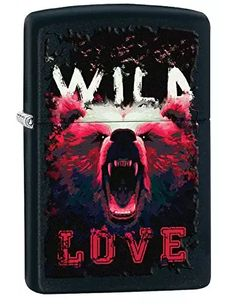 Personalized Message Engraved Customized Gift For Him For Her Wild Love Bear Zippo Outdoor Indoor Windproof Lighter