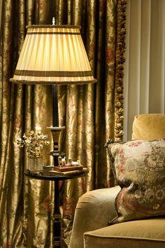 Silk Draperies, custom  lampshade, antique pillow    www.lindafloyd.com