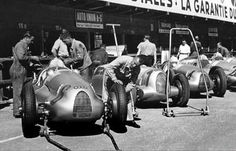 Auto Unions at the 1938 Swiss Grand Prix.