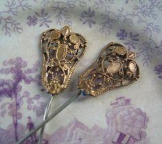 Antiguos alfileres de sombrero de filigrana con lavado de oro conjunto francés