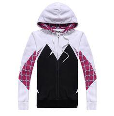 Spider-Man Spider Gwen Cosplay Outfit Women Men Coat Hoodies Sweatshirts