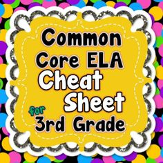 *FREEBIE* ALL 3rd Grade Common Core ELA standards listed on 1 PAGE! This includes reading, language, writing, and speaking/listening standards. #commoncore #3rdgrade #commoncorereading