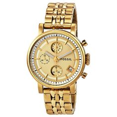 Fossil Boyfriend Chronograph Gold Dial Gold-tone Ladies Watch ($83) ❤ liked on Polyvore featuring jewelry, watches, chronos watch, stainless steel chronograph watch, analog wrist watch, analog watches and stainless steel watches